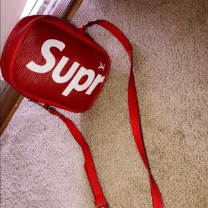 Adjustable Red and White Supreme Fanny Pack